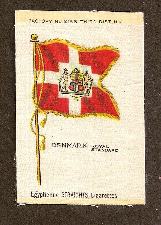 TURN OF CENTURY CIGARETTE SILK - DENMARK ROYAL STANDARD FLAG
