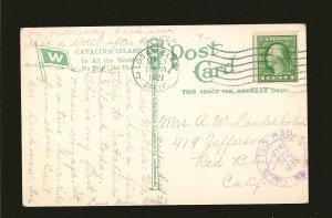 Postmarked 1922 Los Angeles Calif. Steamship AVALON Catalina Island Postcard