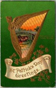 Vintage 1912 ST. PATRICK'S DAY Greetings Postcard Golden Harp / Bridge Scene