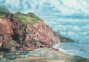 Vintage Postcard A Quiet Afternoon Eastern Cliffs by Ron Webb of Sidmouth Art