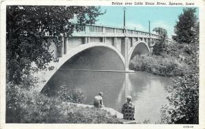 Spencer Iowa~Bridge Over Little Sioux River~Fellas on Ledge~1929 Postcard