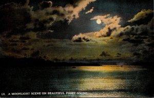 Washington Seattle Moonlight Scene On Beautiful Puget Sound