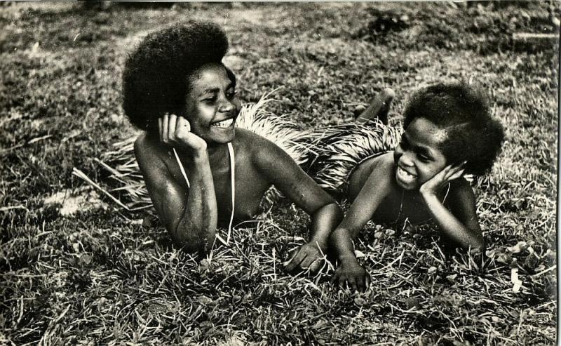 New Guinea, Two Young Papua Girls at Rest (1950s) Mission RPPC