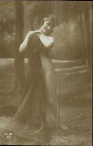 Nude Woman Sheer Cloth Material Head Band Real Photo Card Blank Back