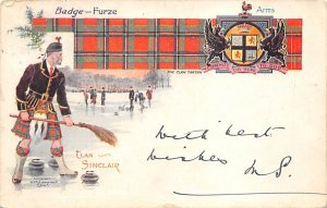 Badge Furze, Clan Sinclair, Scotish Curling 1904 corner wear, writing on front