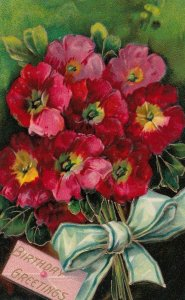 Red Flowers , Birthday Greetings , 1908