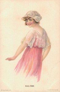 Artist Signed Alice Luella Fidler Rag Time Vintage Postcard 06.72