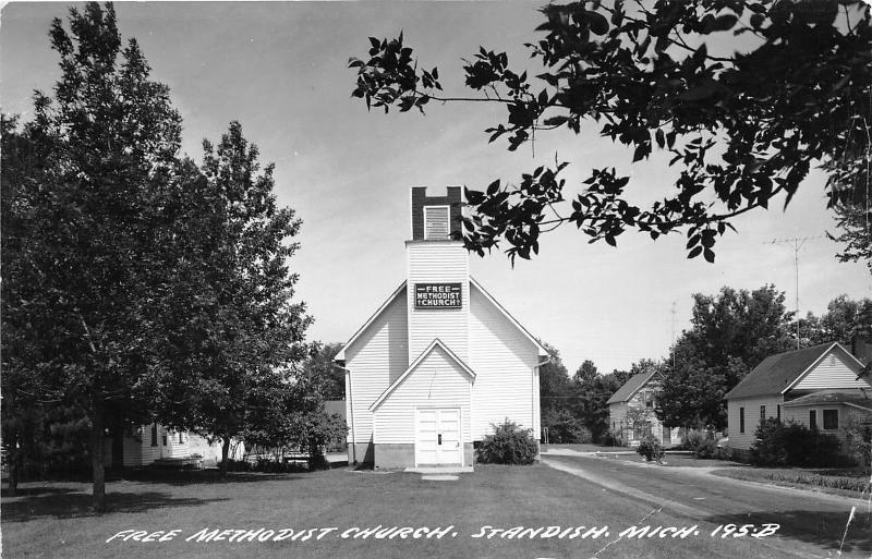 Standish Michigan~Free Methodist Church~Unique Building~Houses on Right~'77 RPPC