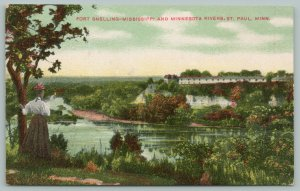 St Paul Minnesota~Fort Snelling-Mississippi & Minnesota Rivers~c1910 Postcard