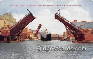 State Street Bascule Bridge Steamship Pere Marquette, Chicago Ship Postcard P...