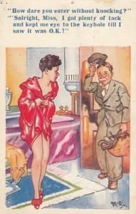 Peeping Tom Through Keyhole Undressed Bathroom Lady Bath Comic Humour Postcard
