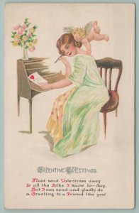 Valentine~Lady Sits At Writing Desk~Cupid On Shoulder~Dressing Gown~Gottschalk