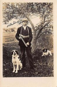 Liberty ME Hunter w/ Dogs Shot Gun Shells Vest F. W. Cunningham Postcard