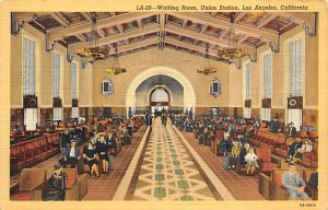Amtrak Train Postcard Waiting Room, Union Station Los Angeles, Calif., USA Un...