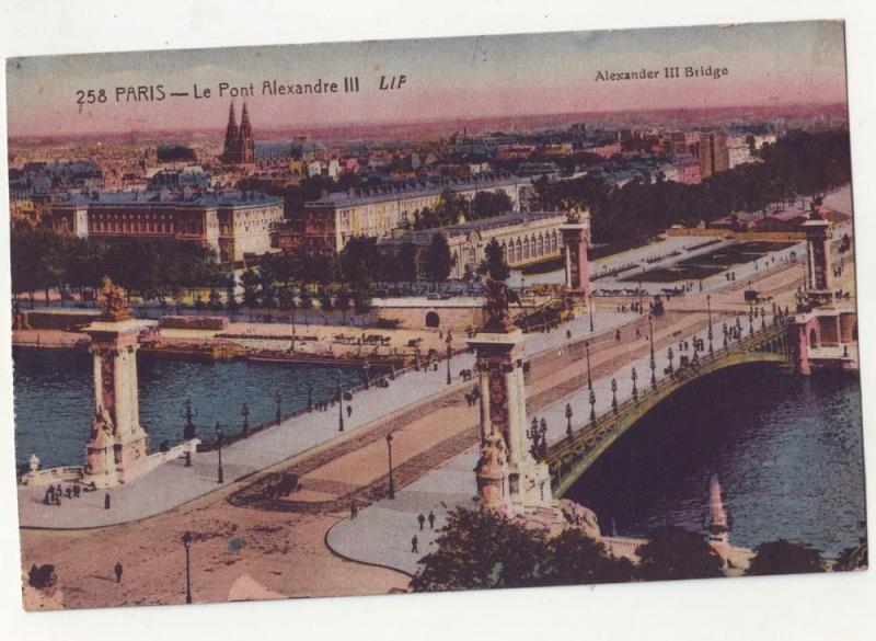 P74 JL 1929 postcard paris-le pont alexandre III bridge