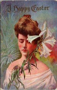 Vintage Postcard A Happy Easter Victorian Lady Lily 1910 Elkader Iowa 1c 1393