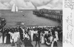 Asbury Park New Jersey~Crowd @ Boardwalk~Fishing Pier & Yacht Emma B.~1906 Pc