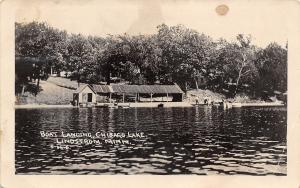 Lindstrom Minnesota~Chisago Lake~Boat Landing~Fish House~Folks on Dock~1913 RPPC