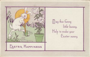 EASTER Happiness, PU-1918; Rabbit planting flowers