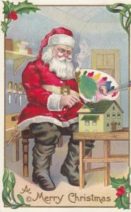 CHRISTMAS, 1900-10s ; Santa Claus Painting a doll House