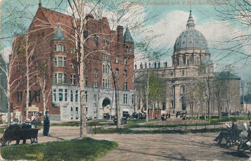 YMCA and St James Cathedral - Montreal QC, Quebec, Canada - pm 1906 - UDB