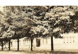 Holly Michigan~High School Building in Trees~1920s Real Photo Postcard~RPPC