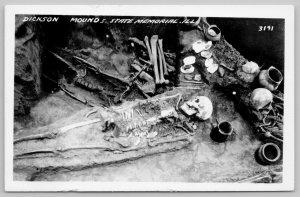 Lewistown IL~Dixon Mounds Burial Site Park~Skeletal Remains RPPC 1950 Postcard