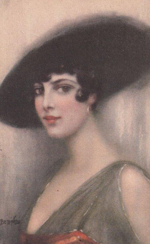 Art Deco ; BETTINELLI , 1910-30s ; Portrait woman in hat