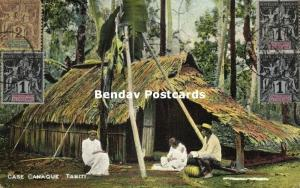 french polynesia, TAHITI, Native Canaque Kanak Family in front of Hut (1910s)