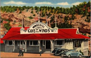 """""""Cave of the Winds"""" Manitou Springs , Colorado Linen Vintage Cars POSTCARD"""