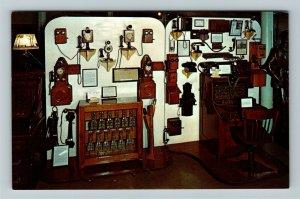 Minden NE- Nebraska, Telephones Switchboards, Pioneer Village, Chrome Postcard