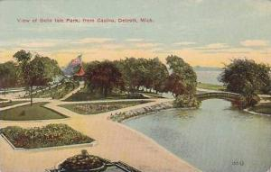 Michigan Detroit View Of Belle Isle Park From Casino