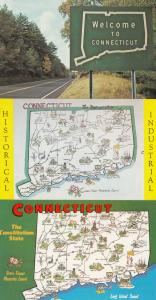 Welcome To Connecticut Sign 3x Map Postcard s
