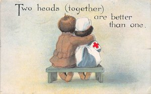 Red Cross Post Card Two Heads Together are Better Than One Soldier and Nurse ...