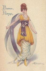 CHERUBINI ; Art Deco Female Portrait with Giant Easter Egg , 1919