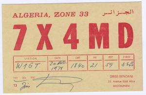 QSL, 7X4MD, Algeria, 1978