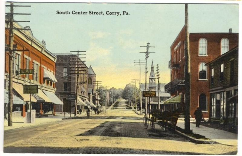 Corry PA South Center Street Restaurant Hotel Storefronts Horse & Wagon Postcard