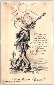 1940s WWII PARRIS ISLAND BOOTS Postcard Artist-Signed DUGMORE Marching Sun #A7