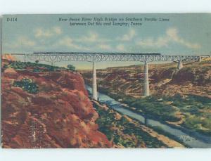 Unused Linen BRIDGE SCENE Comstock & Langtry - Near Del Rio Texas TX H8064