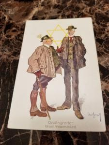 1938 Germany Mint Postcard Eternal Jew Museum Exhibit Pair of Hunters