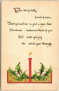 Vintage 1910s CHRISTMAS Postcard Candle This Bit of Holly, Friend of Mine…