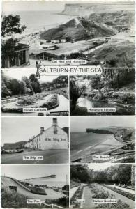 RPPC Multivew of Saltburn-By-The-Sea, Yorkshire, England - pm 1963