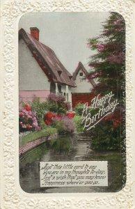 Postcard Greetings birthday flowers house