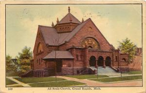 Grand Rapids Michigan~All Souls Church~Stone Building with Stained Glass~1910 PC