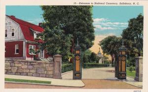 SALISBURY, North Carolina, 10-30s ; National Cemetery Entrance