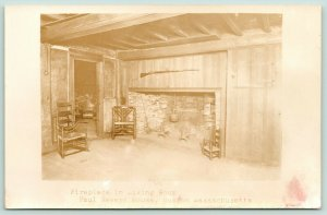 Boston Massachusetts~Paul Revere House~Living Room Fire Place~c1910 RPPC