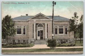 Madison South Dakota~Carnegie Library~Center Street~1909 Handcolored Postcard