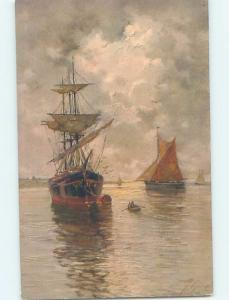 Pre-Linen foreign signed BEAUTIFUL SAILBOAT BOATS ON THE WATER HL6478