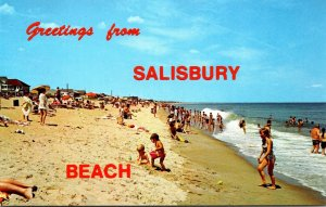 Massachusetts Salisbury Beach Greetings Showing Sunbathers