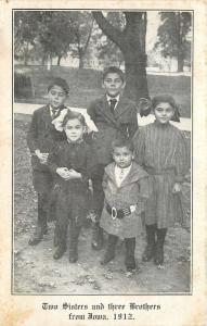 Two Sisters and Three Brothers from Iowa~Big Belt on Youngest 1910 Postcard